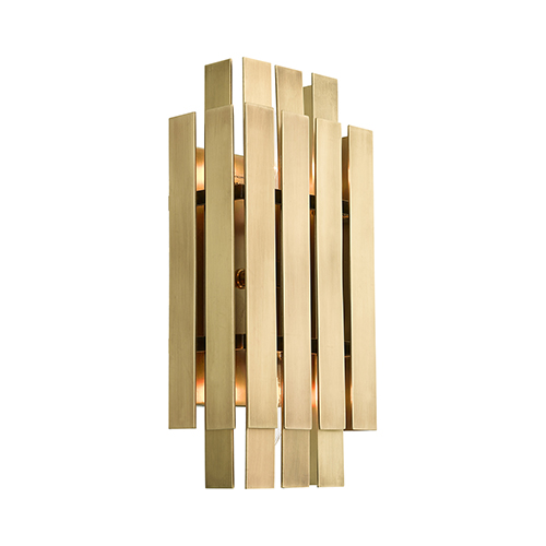 Livex Lighting Greenwich Natural Brass 6-Inch Two-Light ADA Wall Sconce with Natural Brass Metal Shade