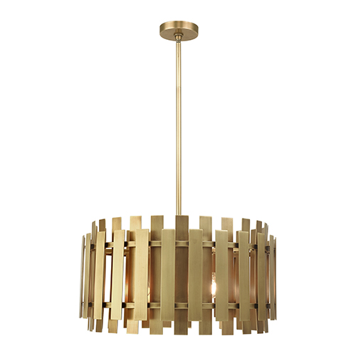 Livex Lighting Greenwich Natural Brass 24-Inch Six-Light Pendant Chandelier with Natural Brass Metal Shade