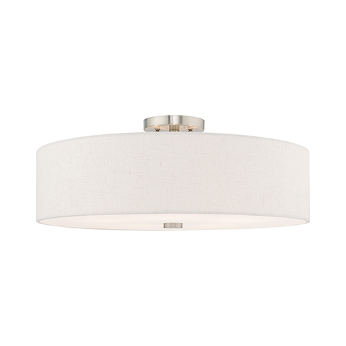 Meridian Brushed Nickel 22-Inch Five-Light Ceiling Mount with Hand Crafted Oatmeal Hardback Shade