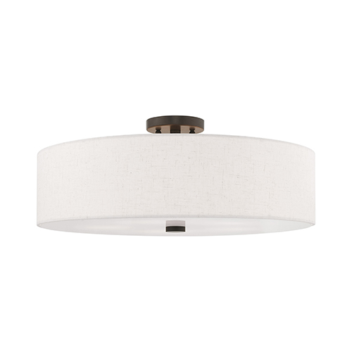 Meridian English Bronze 22-Inch Five-Light Ceiling Mount with Hand Crafted Oatmeal Hardback Shade