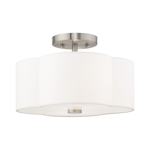 Chelsea Brushed Nickel 13-Inch Two-Light Ceiling Mount with Hand Crafted Off-White Hardback Shade