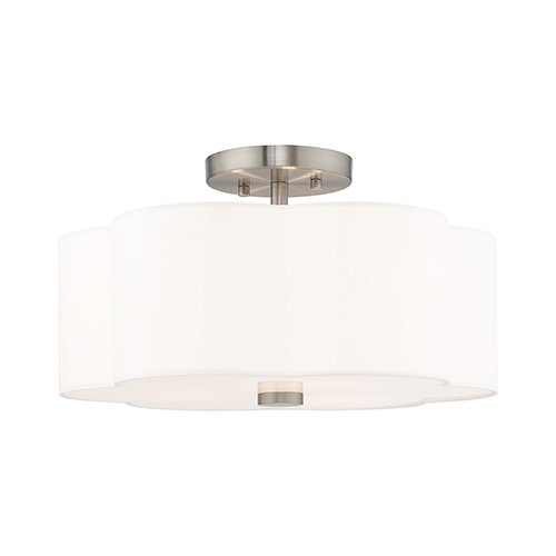 Chelsea Brushed Nickel 15-Inch Three-Light Ceiling Mount with Hand Crafted Off-White Hardback Shade