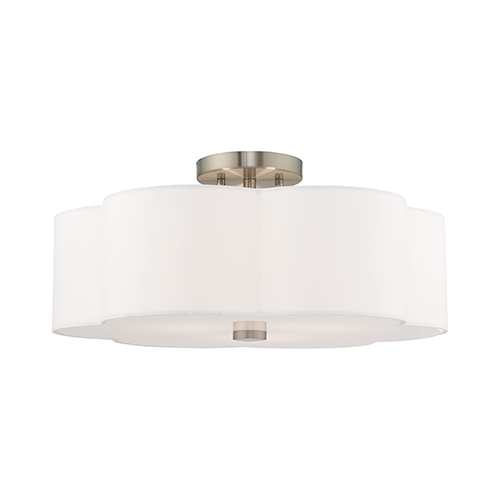 Chelsea Brushed Nickel 18-Inch Three-Light Ceiling Mount with Hand Crafted Off-White Hardback Shade