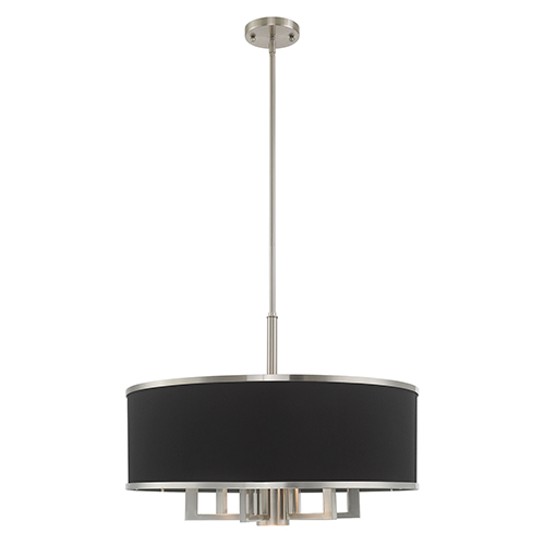 Park Ridge Brushed Nickel 24-Inch Seven-Light Pendant Chandelier with Hand Crafted Black Hardback Shade