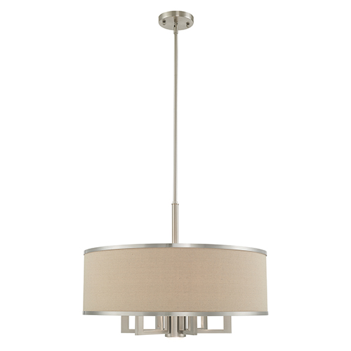 Park Ridge Brushed Nickel 24-Inch Seven-Light Pendant Chandelier with Hand Crafted Ash-Gray Linen Hardback Shade