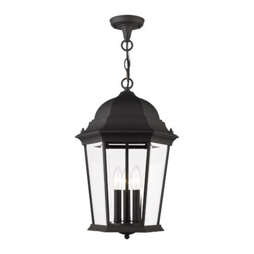 Hamilton Textured Black 13-Inch Three-Light Outdoor Pendant Lantern
