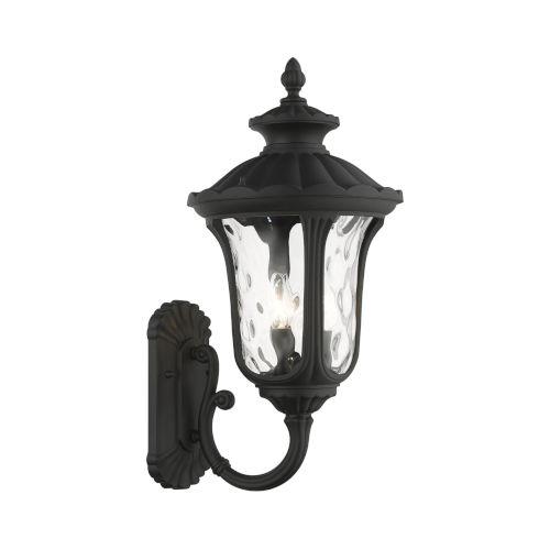 Oxford Textured Black 11-Inch Three-Light Outdoor Uplight Wall Lantern
