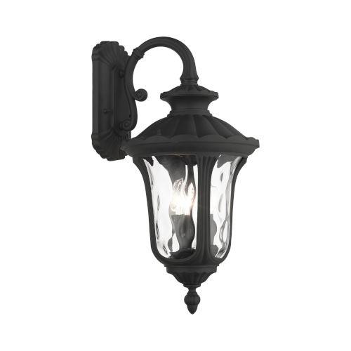 Oxford Textured Black 11-Inch Three-Light Outdoor Down Light Wall Lantern