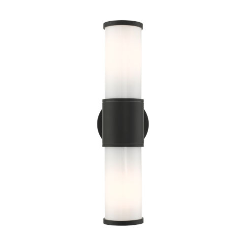 Landsdale Textured Black Two-Light Outdoor ADA Wall Sconce