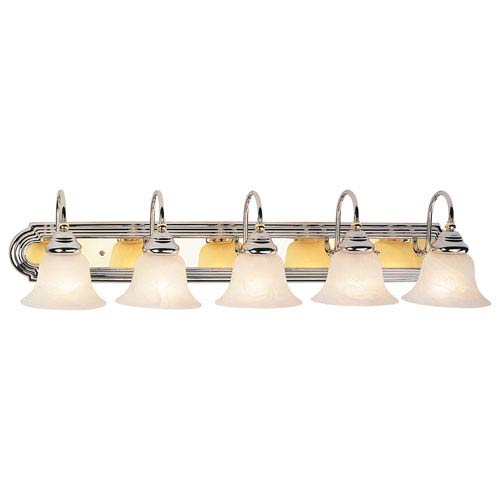 Livex Lighting Belmont Chrome and Polished Brass Five Light Bath Light