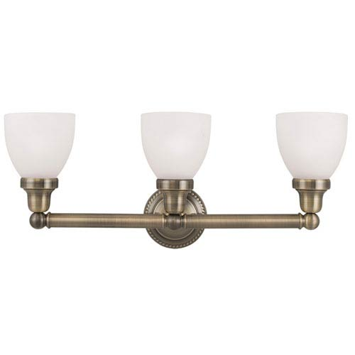 Livex Lighting Classic Antique Brass Three Light Bath Light