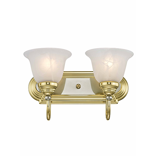 Livex Lighting Belmont Polished Brass and Chrome Two Light Bath Light