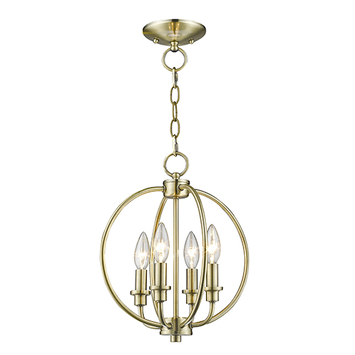 Livex Lighting Milania Antique Brass Four Light Convertible Chain Hang and Ceiling Mount