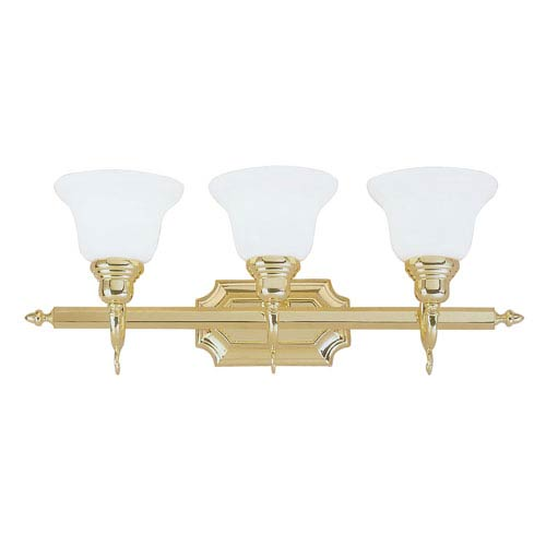 French Regency Polished Brass Three-Light Bath Fixture