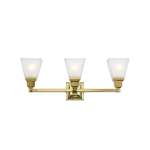 Mission Polished Brass 25.5-Inch Three-Light Bath Light