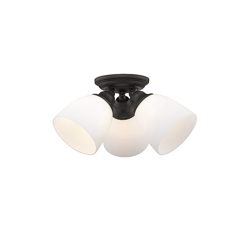 Livex Lighting Somerville Bronze 14.5-Inch Three-Light Semi Flush Mount
