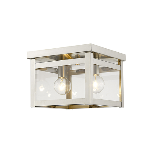 Milford Brushed Nickel 8-Inch Two-Light Flush Mount with Clear Glass