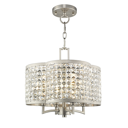 Grammercy Brushed Nickel 14-Inch Four-Light Convertible Pendant
