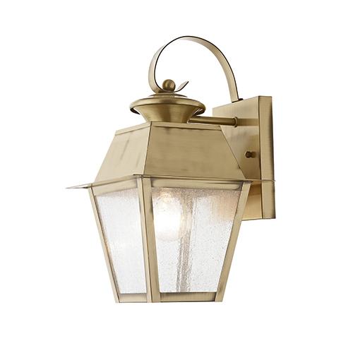 Livex Lighting Mansfield Antique Brass 7.5-Inch One-Light Outdoor Wall Lantern