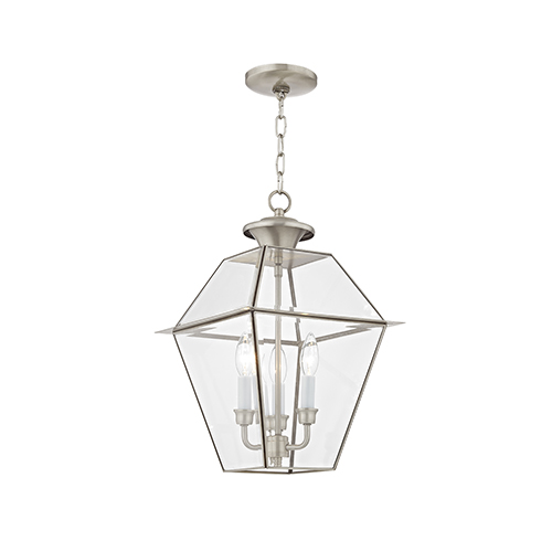 Westover Brushed Nickel 12-Inch Three-Light Outdoor Chain-Hang Lantern with Clear Beveled Glass