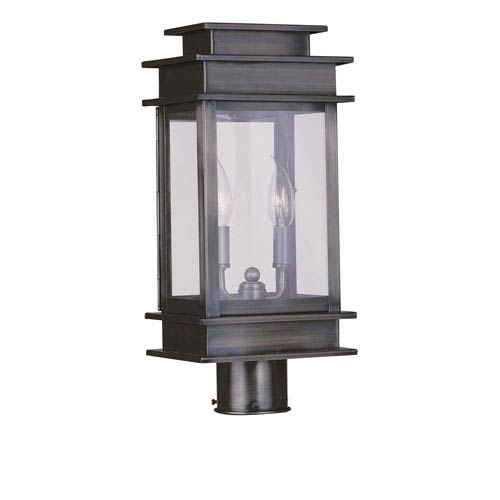 Livex Lighting Princeton Vintage Pewter 17-Inch Two-Light Outdoor Post Mount