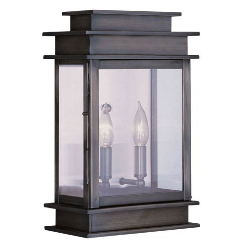 Livex Lighting Princeton Vintage Pewter Two-Light 15-Inch Outdoor Wall Lantern