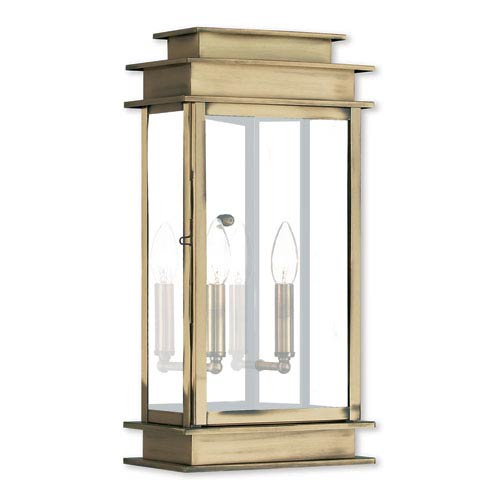 Princeton Antique Brass Two-Light 19-Inch Wall Lantern