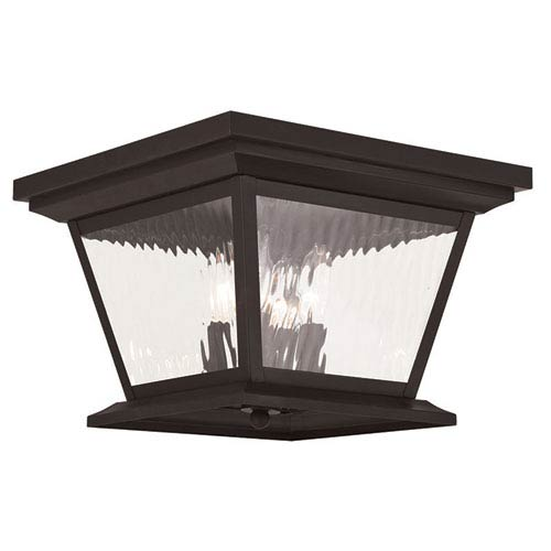 Hathaway Bronze 13-Inch Four-Light Outdoor Flush Mount