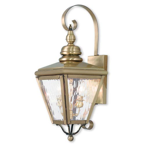 Cambridge Antique Brass 8.5-Inch Two-Light Outdoor Wall Lantern