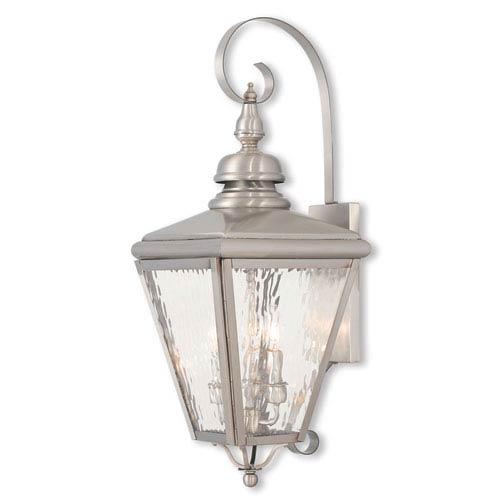 Cambridge Brushed Nickel 11-Inch Three-Light Outdoor Wall Lantern