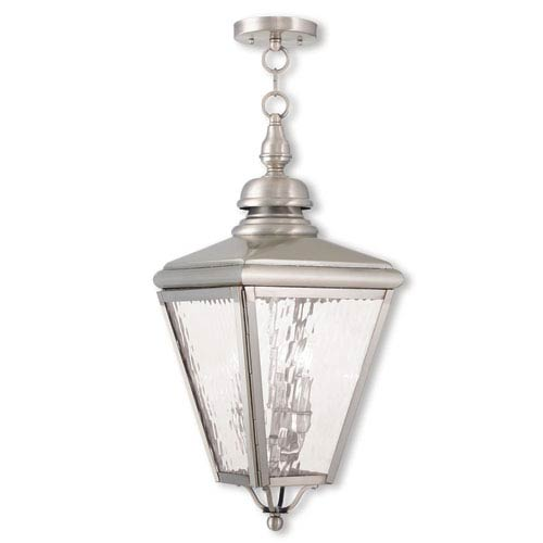 Cambridge Brushed Nickel 11-Inch Three-Light Outdoor Chain-Hang Lantern with Clear Water Glass