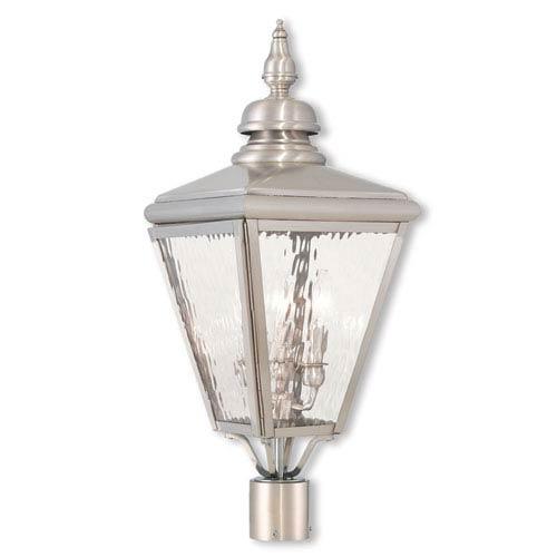 Cambridge Brushed Nickel Three-Light Post-Top Lantern