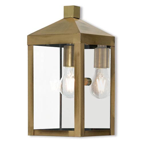 Livex Lighting Nyack Antique Brass 6-Inch One-Light Outdoor Wall Lantern