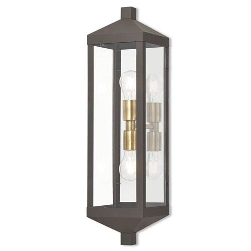Nyack Bronze 6-Inch Two-Light Outdoor Wall Lantern