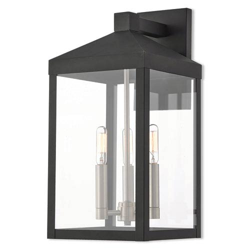 Livex Lighting Nyack Black 8-Inch Three-Light Outdoor Wall Lantern