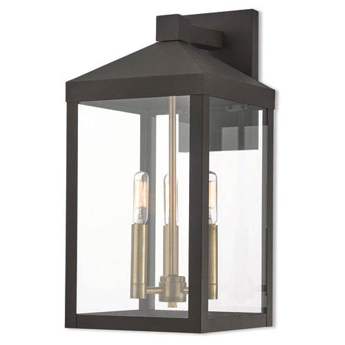 Nyack Bronze 8-Inch Three-Light Outdoor Wall Lantern