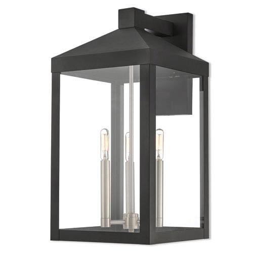 Livex Lighting Nyack Black 11-Inch Three-Light Outdoor Wall Lantern