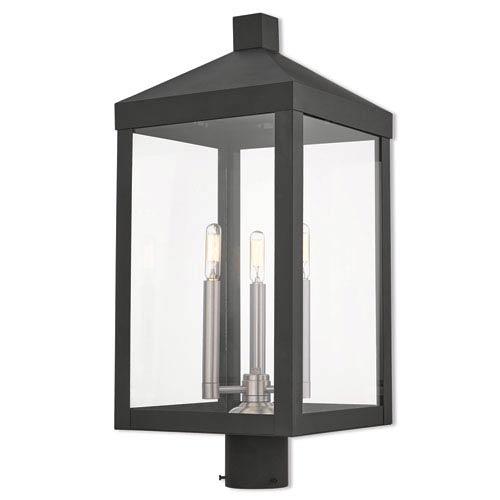 Livex Lighting Nyack Black 11-Inch Three-Light Outdoor Post Top Lantern