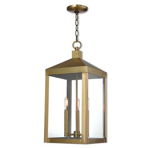 Nyack Antique Brass 11-Inch Three-Light Outdoor Pendant Lantern