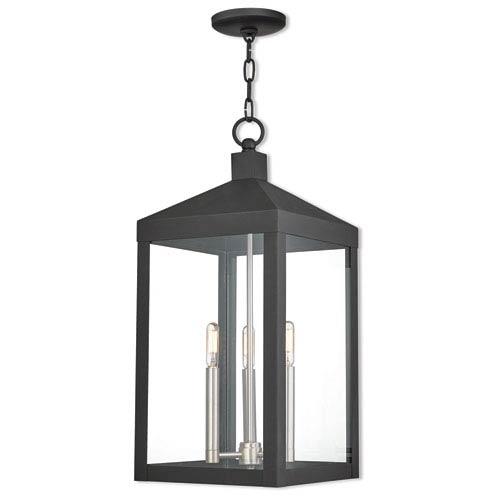 Livex Lighting Nyack Black 11-Inch Three-Light Outdoor Pendant Lantern