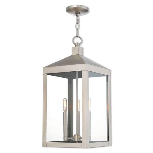 Nyack Brushed Nickel 11-Inch Three-Light Outdoor Pendant Lantern