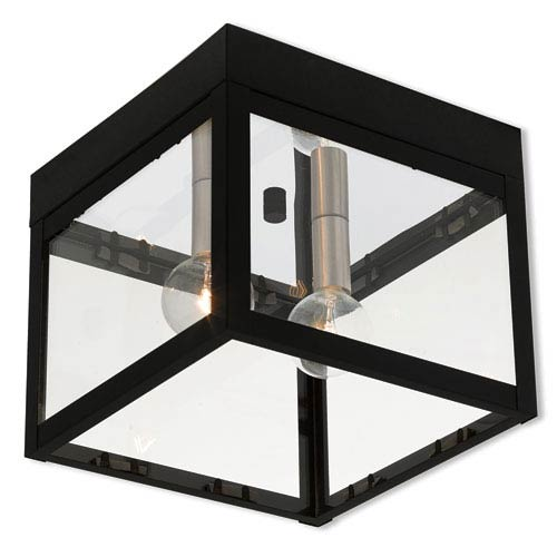 Livex Lighting Nyack Black 8-Inch Two-Light Outdoor Ceiling Mount