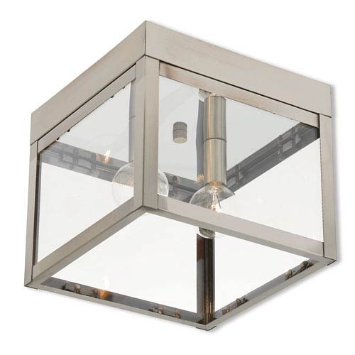 Nyack Brushed Nickel 8-Inch Two-Light Outdoor Ceiling Mount