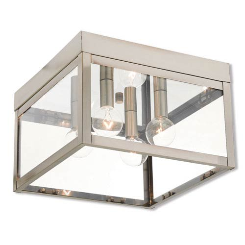 Nyack Brushed Nickel 11-Inch Four-Light Outdoor Ceiling Mount