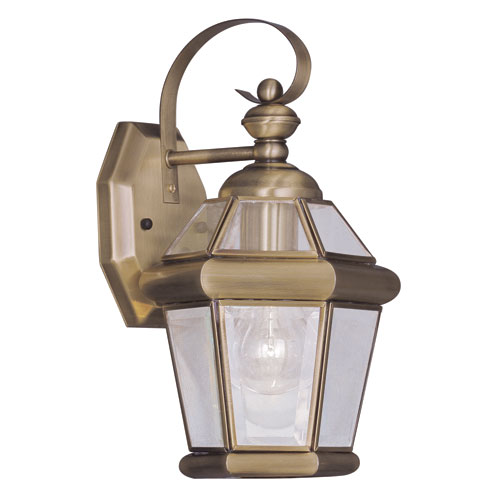 Livex Lighting Georgetown Antique Brass One-Light 11-Inch Outdoor Wall Lantern