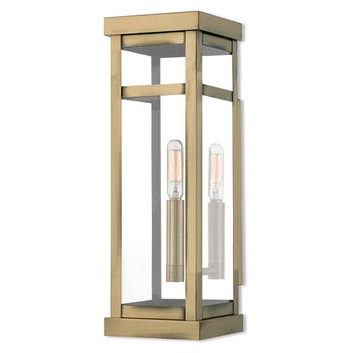 Hopewell Antique Brass 15-Inch One-Light Outdoor Wall Lantern