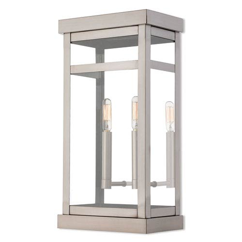 Hopewell Brushed Nickel 18-Inch Two-Light Outdoor Wall Lantern
