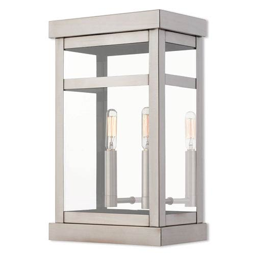 Hopewell Brushed Nickel 15-Inch Two-Light Outdoor Wall Lantern