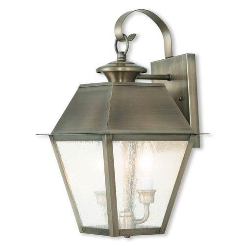 Mansfield Vintage Pewter 12-Inch Three-Light Outdoor Wall Lantern
