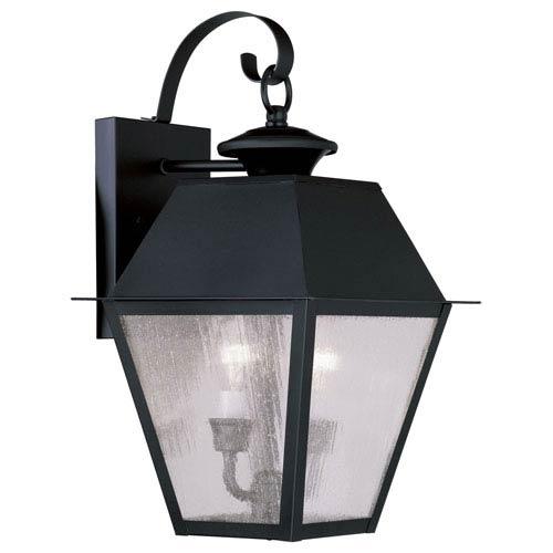 Livex Lighting Mansfield Black Two-Light Outdoor Wall Lantern